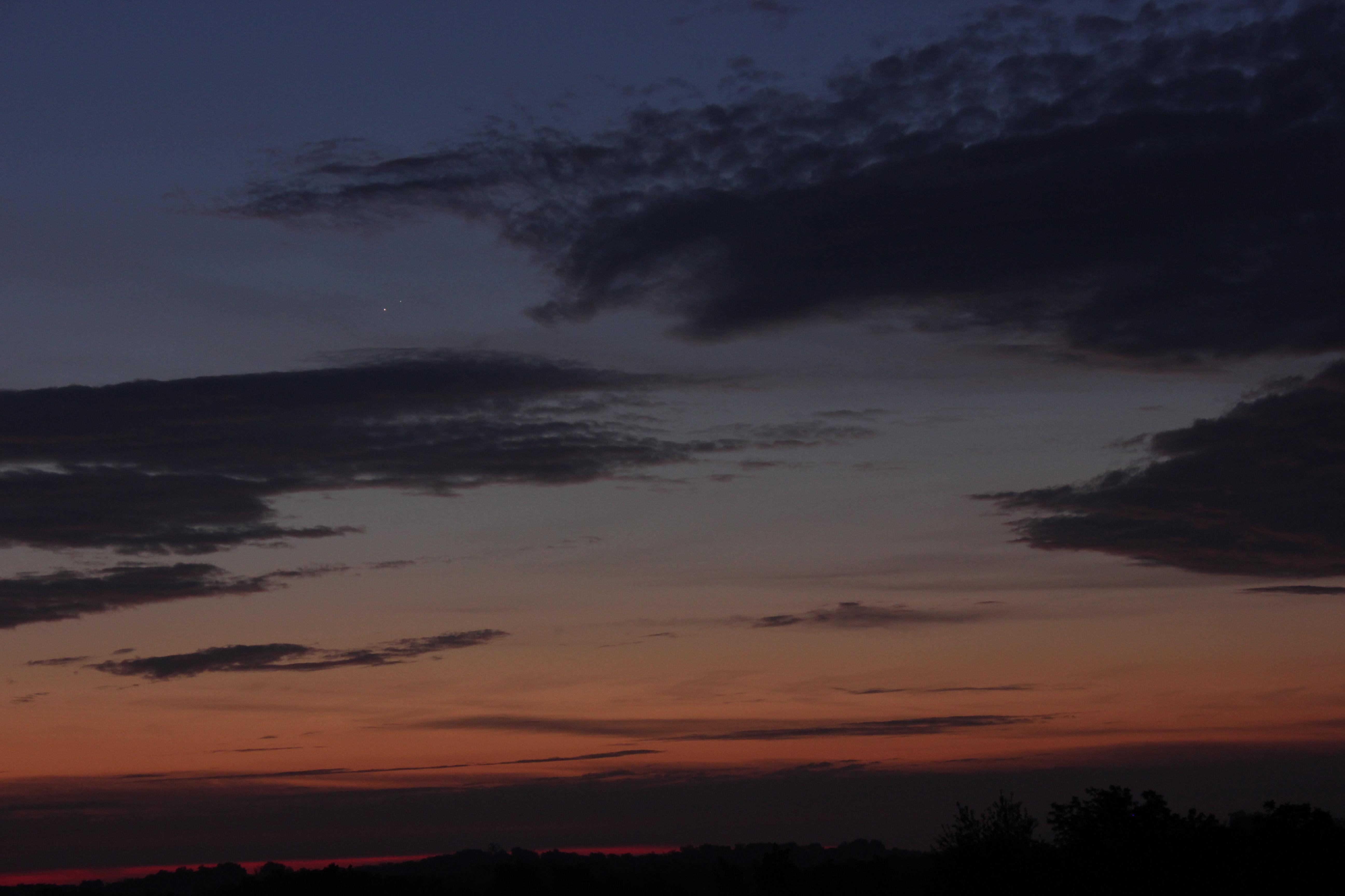 Not so closeup of Venus and Jupiter through clouds and brightening skies (photo credit: Dan Andrea)