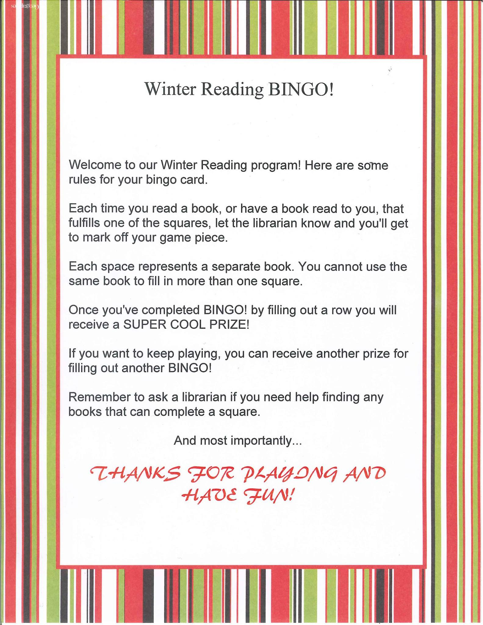 Lansing Community Library Winter Reading Program Book Bingo