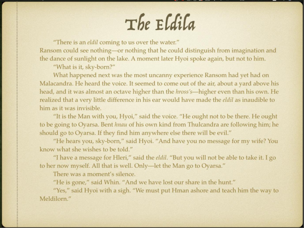 Week 4 Slide 1 The Eldila