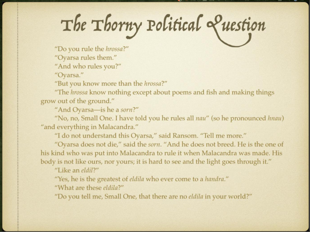 Week 4 Slide 6 The Thorny Political Question